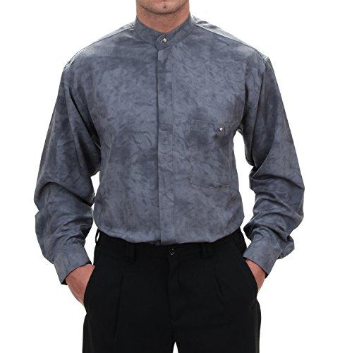 Stehkragenhemden in grau/batik, für Herren BESTE QUALITÄT, HK Mandel Kläppchenkragen Hemd Langarm Normal Nicht Tailliert, 1184 Grau/batik