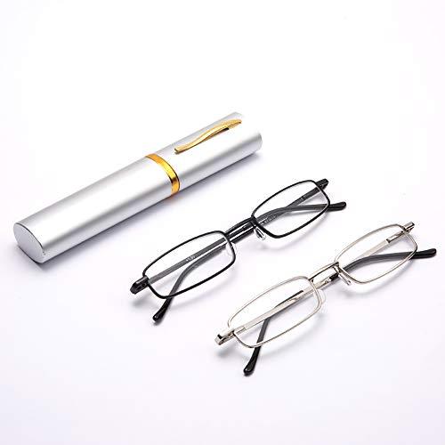 Lesebrille 2er Pack Protable Brillen Leichte ältere Brillen Mini Federgelenke Presbyopie Auge Kompakt Leichte Taschenclipleser Grad 1,0 Bis 4,0,2.0