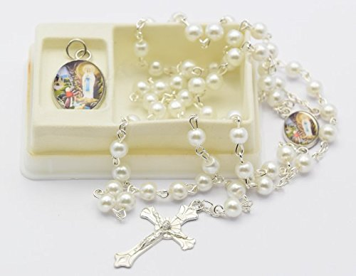 Cream-Lourdes-Rosary-Beads-with-Matching-Lourdes-Apparition-Medal-Catholic-Rosary-Beads