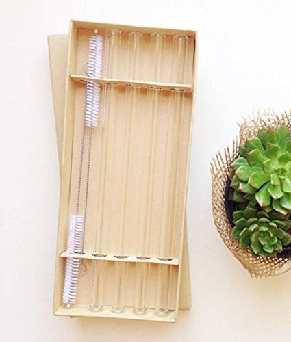 4 Reusable Glass Straws - 9in x 12mm + 2 Cleaning Brushes Eco-friendly Borosilicate Glass Drinking Straw - Suck a Smoothie Right by Gaia Guy