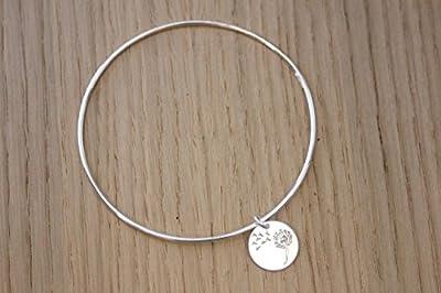 Bracelet jonc en argent massif avec breloque médaille gravée pissenlit