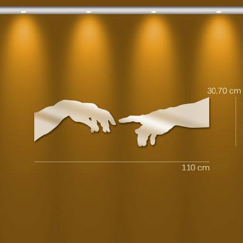 TENDANCE MIROIR M0093 Miroir Design La Création d'Adam Synthétique Argent 107,6 x 30,7 x 0,3 cm
