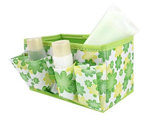 Winkey Boîte de rangement, maquillage cosmétique Boîte de rangement Sac brillant Organisateur pliable papeterie Container, vert
