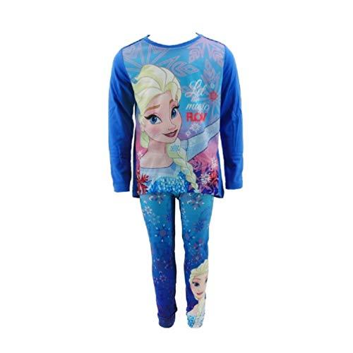 Frozen - Die Eiskönigin Disney ELSA Langarmshirt + Leggings Set Blau, Größe:116 (6 A)
