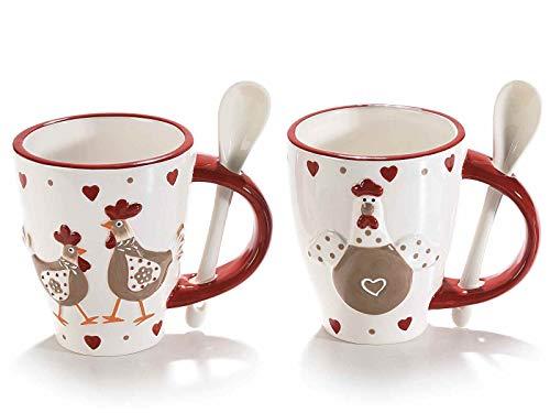 4 tazza in ceramica c/decoro gallinelle e cucchiaino integrato