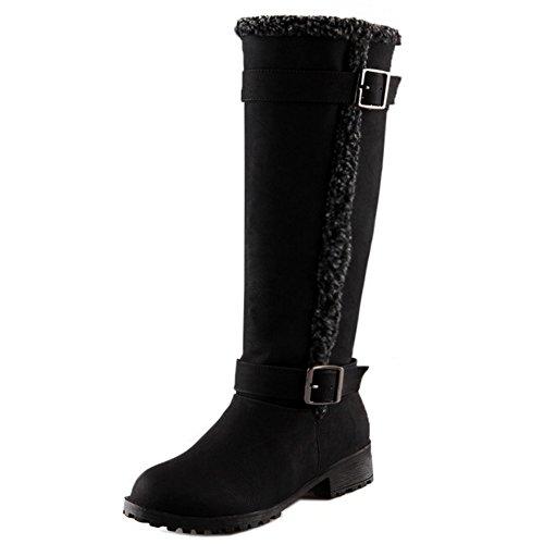 TAOFFEN Femmes Western Hiver Chaussures Chaud Appartements Mi-mollet Bottes de Neige 1424 Black