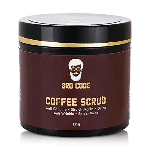 Bro Code Coffee Scrub for Men and Women-100% Natural with Anti Cellulite | Anti Wrinkle | Anti Acne and Detox Properties- 125 GMS