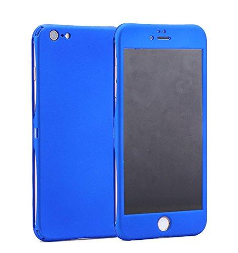 Coque iPhone 6/6S 360 Degres + Protection en Verre Trempé [ Anti-Choc ] Housse Etui PC Avant + Arrière Protection avec Absorption de Choc Bumper et Anti-Scratch Bleu