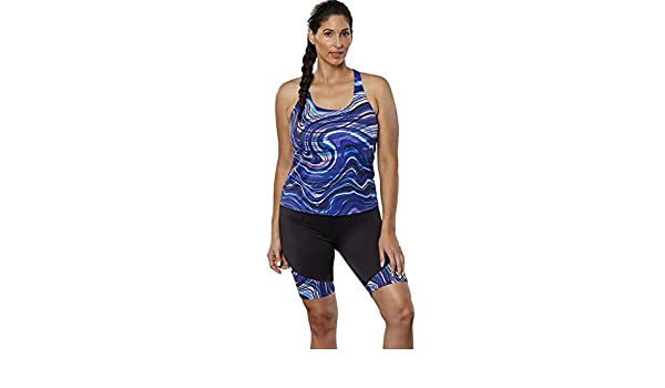 0e009f713c952 Aquabelle Women's Chlorine Resistant Undertow Long Bike Short Set - Multi  -: Amazon.co.uk: Clothing