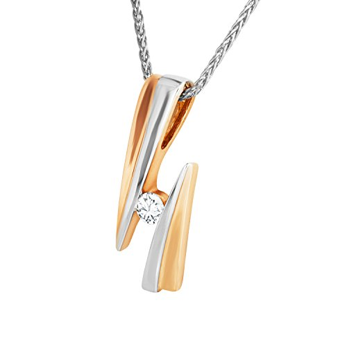 Diamond Line Goldkette mit Diamant-Anhänger Gold mit 1 Diamanten ca. 0.12ct.
