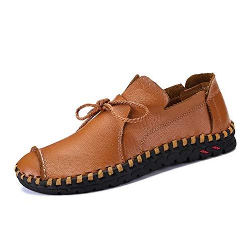 HILOTU Herren Leder Oxfords Schnüren Mokassins Slip Ons Loafers Atmungsaktive Driving Walking Schuhe Business Schuhe (Color : Braun, Size : 38 EU)