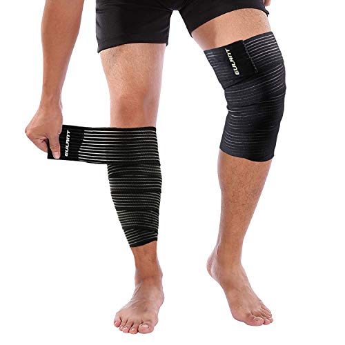 ONT Rodillera Vendaje 180cm de Alta Elasticidad Envolver Alrededor Apoyo de Pantorrilla 1 Par Envoltura de Compresión de Muslo - Alivio Dolor Muscular Esguince Lesiones Deportivas Negro