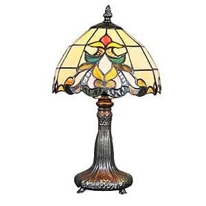 60W Tiffany Lampe de table en verre avec pied de lampe en métal