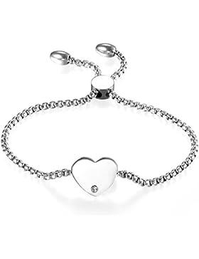 JewelryWe Schmuck Damen Armband, Edelstahl Strass Hochglanz Poliert Herz Verstellbar Charm Armkette Armreif, Rosegold...