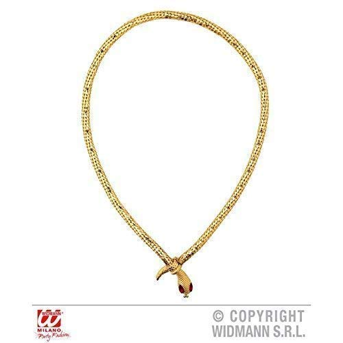 nte goldenfarbene Schlangenkette / Ägyptischer Schmuck mit roten Augen ()