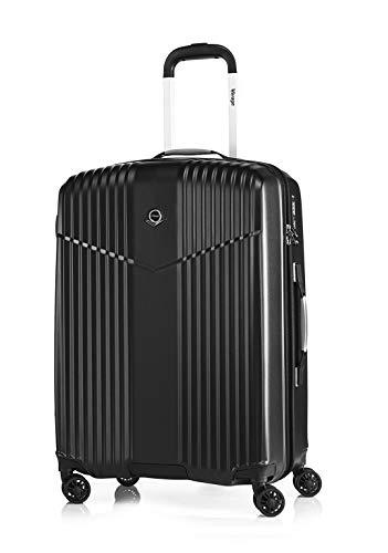 Verage V-LITE Reisekoffer Ultraleicht Ab 1,9kg Hartschale 4 Doppel-Räder TSA Schloss M-24(66L) ABS/PC Trolley Schwarz mit Sicherheits-Reißverschluss