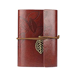 atdoshop(TM Vintage Dark Green PU Leather Cover Loose Leaf Blank Notebook Journal Diary Gift (Dark Red)