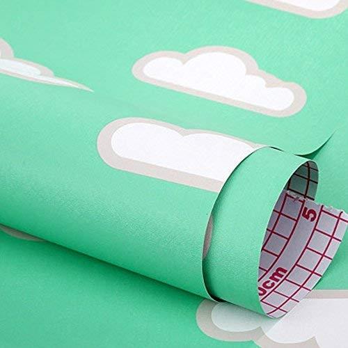 HOYOYO 43,2x 198,1cm Hellgrün Selbstklebend Regal Liner, Feuchtigkeit Proof Kommode Schublade Papier Regal Schimmelfest Antifouling Kontakt Papier, Weiß Cloud - Schublade Papier Für Kommode Liner