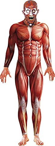 Smiffy's Adult men's Anatomy Man Costume, Bodysuit and Mask, National