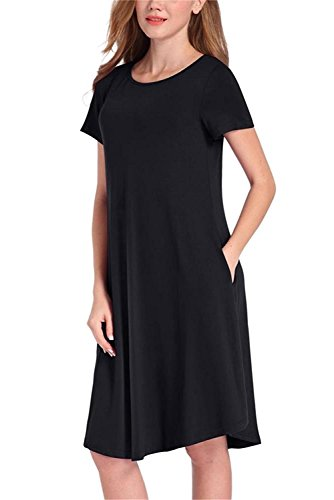 NELIUYA Womens Long/Short Sleeve Casual Swing Dresses Flare Midi Dress Knee Length