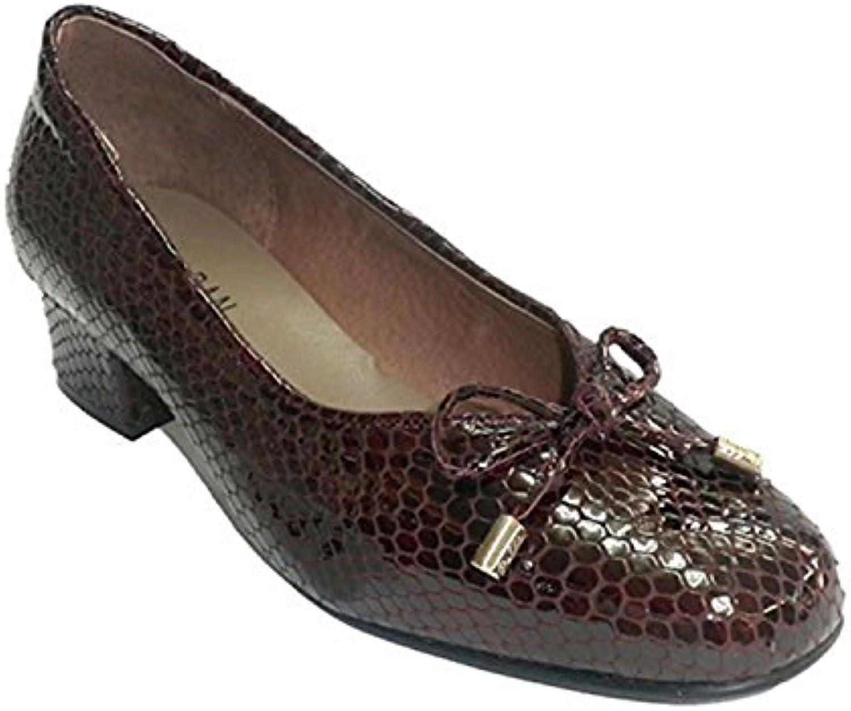 Roldan Zapato Mujer Tipo Manoletinas Charol simula Piel de Serpiente Roldán EN Burdeos