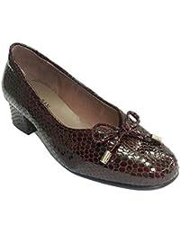 Zapato Mujer Tipo Manoletinas Charol simula Piel de Serpiente Roldán en Burdeos