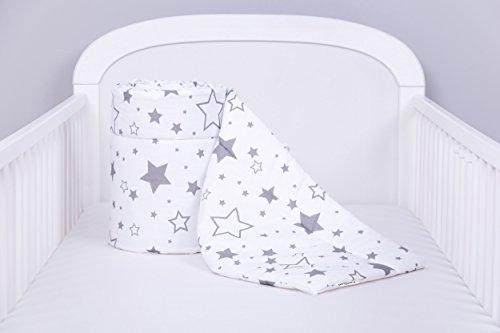 Amilian® Bettumrandung Nest Kopfschutz Nestchen 420x30cm, 360x30cm, 210x30cm, 180x30 cm Gute Nacht Grau Bettnestchen Baby Kantenschutz Bettausstattung (180cm (für das Babybett 120x60cm- Kopfschutz))