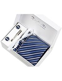 Rayures bleues foncées Ensemble Cravate étanche d'homme , Mouchoir, épingle et boutons de manchette coffret cadeau