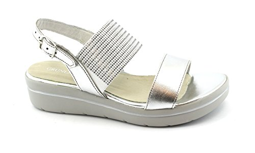 Grunland Leben SA1752 Silber Keil Sandalen Frau elastische Lederarmband 39