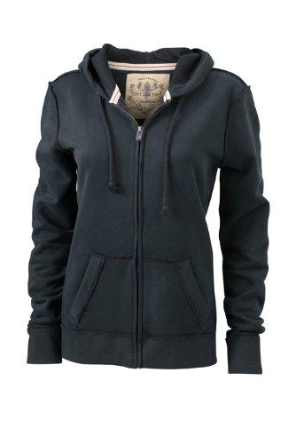 James & Nicholson Damen Sweatshirt Kapuzenjacke Ladies' Vintage Hooded Sweatshirt Black