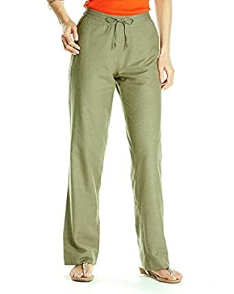 Womens Linen Cotton Blend Elasticated Summer Trousers Khaki Size 20