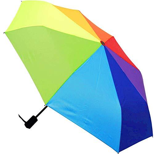 COLLAR AND CUFFS LONDON - Compacto Y Fuerte - A Prueba DE Viento - Estructura Reforzada con Fibra de Vidrio - Apertura y Cierre Automático - Pequeño - Paraguas Plegable - Resistente Colorido Arcoíris
