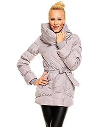 Fresh Made Daunenjacke Kurz Mantel Wintermantel Steppjacke XL Kragen M (36) Grau