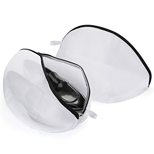 Wäschebeutel für Schuhe, omitium Wäschenetz 2 Stück Multi Schutz Wäschenetz Schuhe-Wäschesack für die Waschmaschine Mit Haltbarem Reißverschluss ideal für Empfindliche Dessous, BH und Schuhe, Weiß -