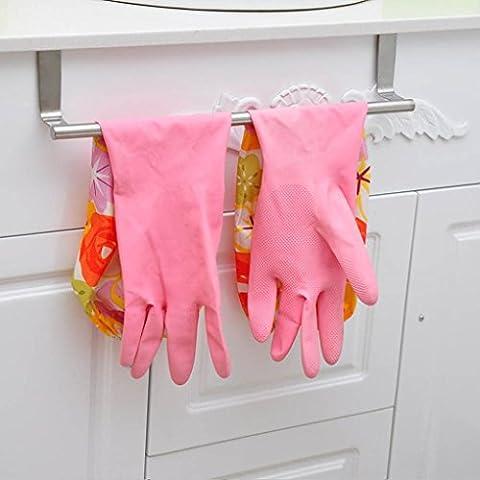 Over Cupboard Door Towel Rail Holder Bathroom Kitchen Cabinet Shelf Rack (Small)