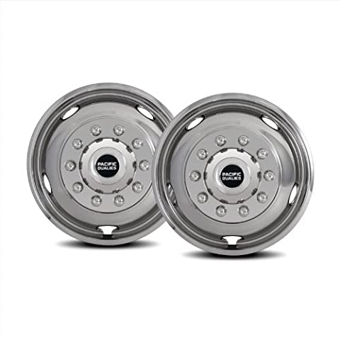 Pacific Dualies 43-2950 19.5 Polished Stainless Steel Wheel Simulator Front Tag Axle Kit for 2005-2014 Ford F450/F550 Truck RV Motorhome by Pacific Dualies