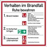 Schild Verhalten im Brandfall Symbole gemäß ASR A1.3/ DIN 7010 PVC 18 x 18 cm (Verhaltensregeln) praxisbewährt, wetterfest