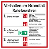 Schild Verhalten im Brandfall Symbole gemäß ASR A1.3/ DIN 7010 PVC 18 x 18 cm...