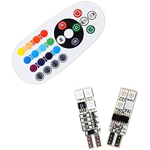 S & D 2x T10bombilla led para placa de licencia luz luz de lectura–fácil controlado con más remotos colores RGB