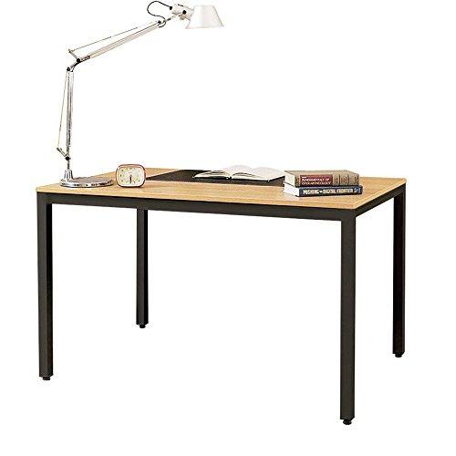 DlandHome Escritorios 138x55cm Mesa Multipropósito Mesa Salón/de Comedor/Mesa de Despacho Escritorio de Oficina,Teca & Nero