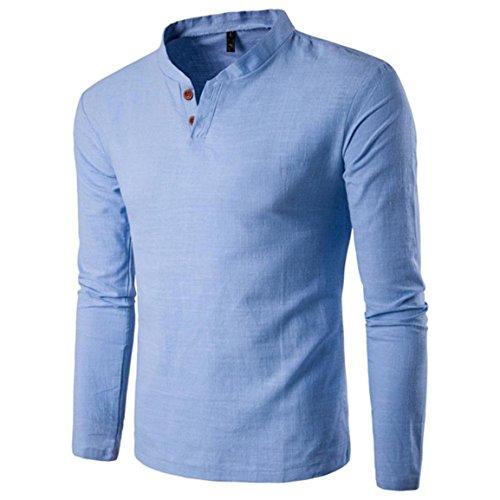 Moonuy,Herren Langarm Pullover, Solides Sweatshirt Top Tee Outwear Persönlichkeit Knopf V-Ausschnitt Bluse, Casual Leinen Bluse für Jungen, Mode Charme Slim T-Shirt (Blau, EU 38 / Asien L) (Fleece Pullover Shirt Langarm)