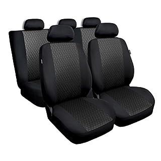 Universal Grau Polyester/Jaquard Sitzbezüge Komplettset Sitzbezug für Auto Sitzschoner Set Schonbezüge Autositz Autositzbezüge Sitzauflagen Sitzschutz Profi