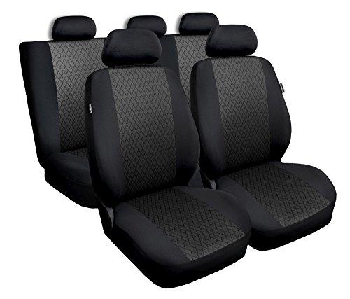 Universal Grau Polyester/Jaquard Sitzbezüge Komplettset Sitzbezug für Auto Sitzschoner Set Schonbezüge Autositz Autositzbezüge Sitzauflagen Sitzschutz Profi (Civic Auto Sitzbezüge Honda)