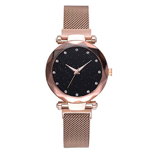 Armbanduhren Frauen Stilvolle Quarz Armbanduhr Mesh Starry Sky Dial Casual Uhren Ultradünne Minimalist Mode Armband Strass Freizeit Netzwerkkette Glasspiegel Mädchen Uhr