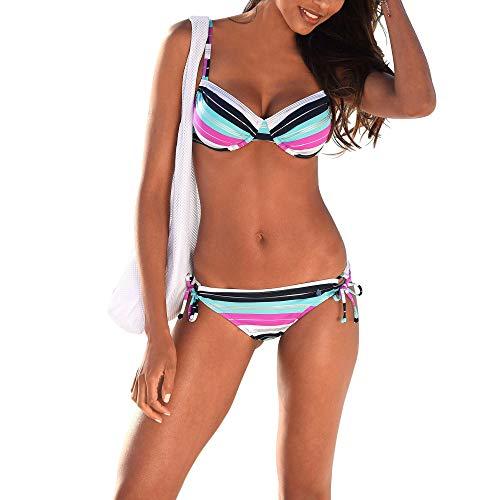 s.Oliver YES-23 Damen Bügel-Bikini-Set Träger längenverstellbar Hose Bindeband, Groesse 42C, pink/türkis/gestreift