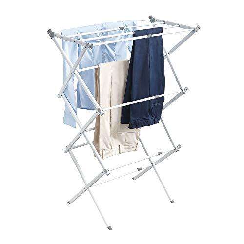 iDesign 39713EU Brezio Ausziehbarer Wäscheständer für Wirtschaftsküche, 3-stöckig, 74,93 x 38,25 x 100,48 cm, weiß/grau, steel