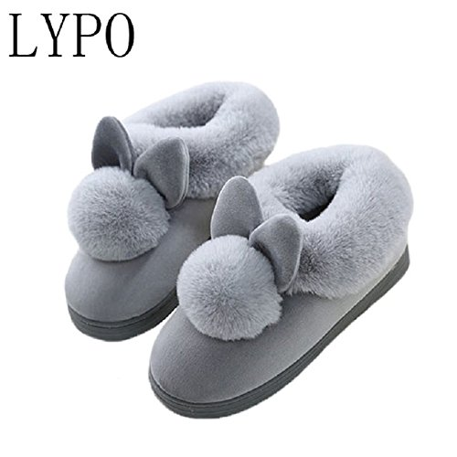 LEPAKSHI Gray, 8 : LYPO HOT 2017 Soft Home Slippers Cotton Warm Winter women slippers Casual indoor slippers SIZE 36-41 BLACK PINK GRAY
