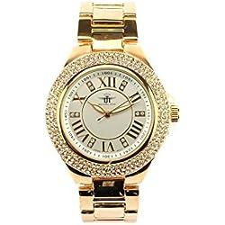 Michael John Damen-Armbanduhr Strass und Gold goldmoon