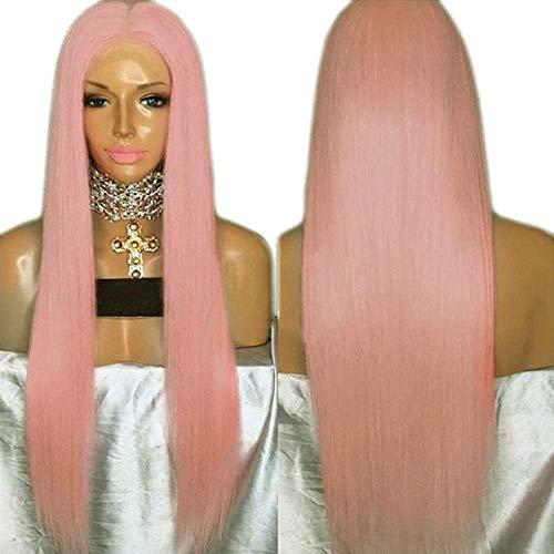 HAOMEI Frontknospe Siebdruck Europa Und Den Vereinigten Staaten Neue Chemiefaser Perücke Rosa 26 Zoll Lange Glatte Haare Perücke Anime Cosplay Requisiten Haarstücke (Size : 20 inches) -
