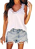 Lovezesent Women Lace Sleeveless Top Loose Casual V Neck Solid Strappy Cami Tank